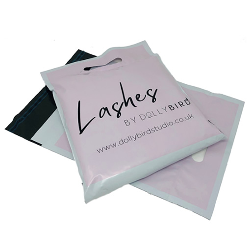 Pale Pink Carry Handle Printed Mailing Bag
