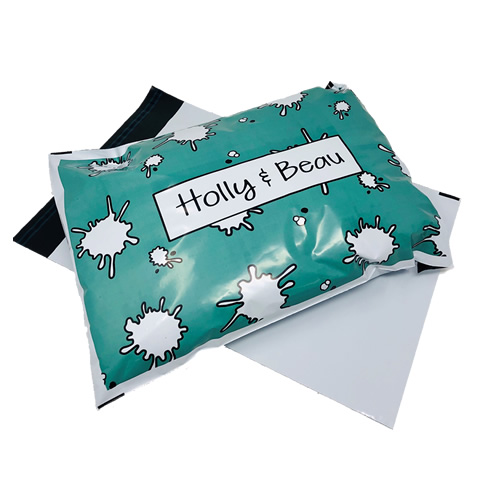 Green and White Printed Mailing Bag