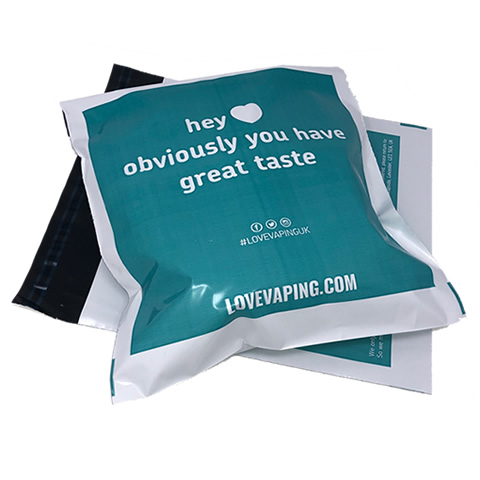 Turquoise Printed Mailing Bag with White Logo