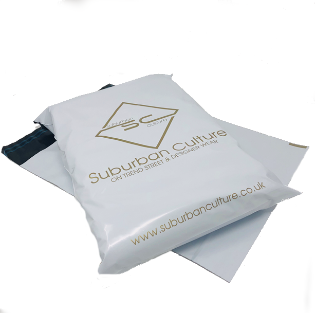 Medium sized White and Gold Online Retail Bag